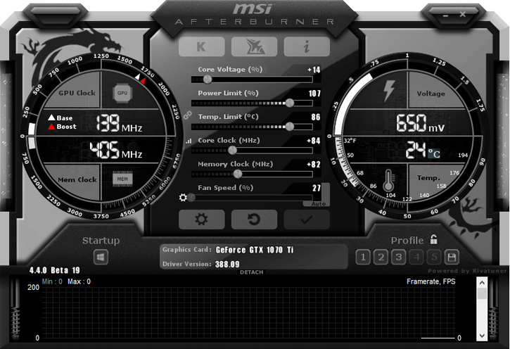 NVIDIA GeForce GTX 1070 Ti раогнанная MSI Afterburner