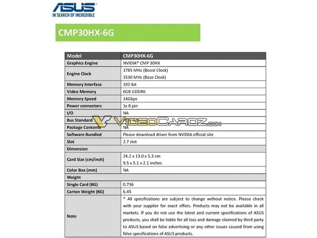 Asus представила ускоритель для майнинга CMP 30HX, с подсветкой