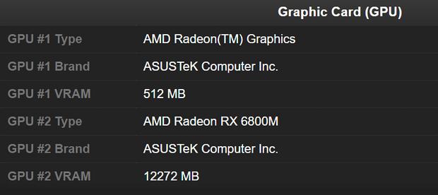 Asus готовит ноутбук с Ryzen 9 5900HX и Radeon RX 6800M
