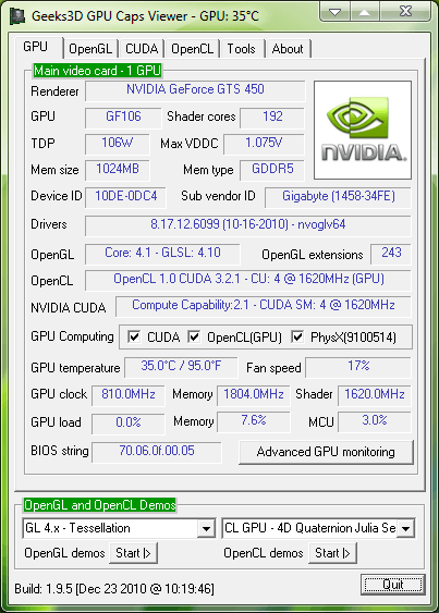GPU Caps Viewer 1.9.5