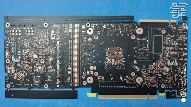 Задняя часть печатной платы видеокарты GeForce GTX 1180