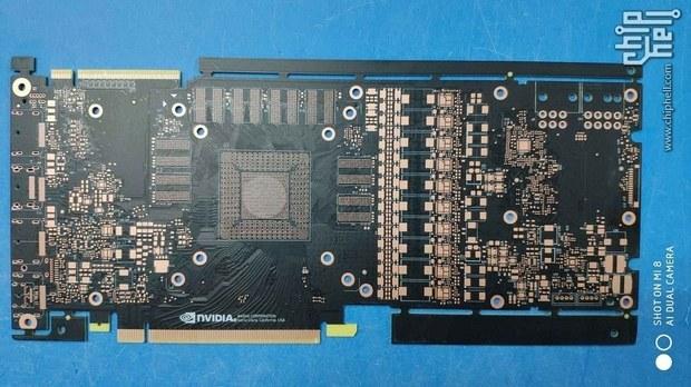 Фронтальная часть печатной платы видеокарты GeForce GTX 1180