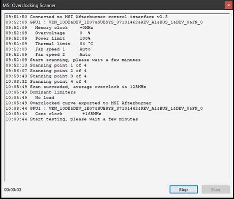 Этапы разгона в OC Scanner
