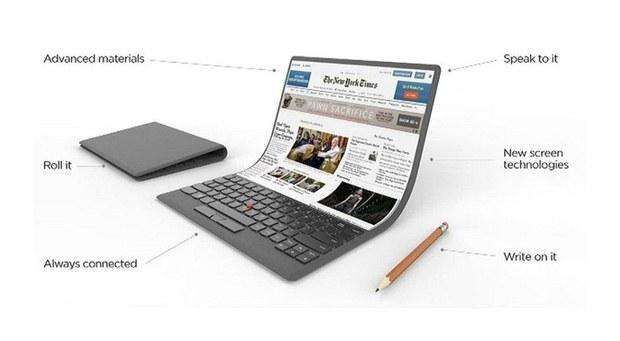 Концепт ноутбука Lenovo с гибким экраном