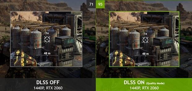Сравнение изображения с включённой и выключенной DLSS
