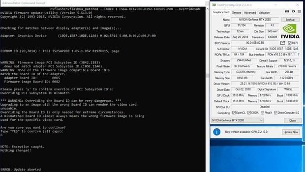 Прошивка RTX 2080 FE неродным BIOS в NVFlash