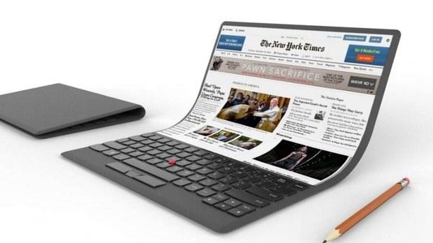 Концепт ноутбука с гибким экраном