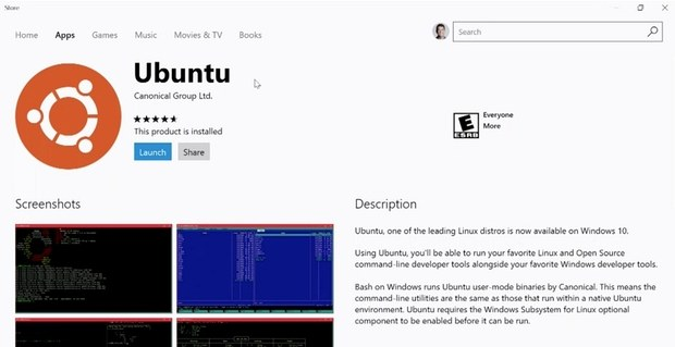 Ubuntu в Windows Store
